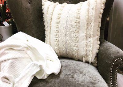 pillow, chair, throw